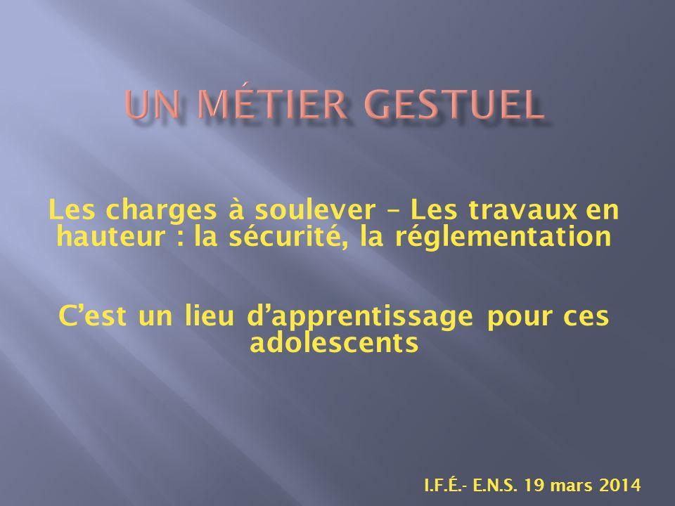 Les charges à soulever – Les travaux en hauteur : la sécurité, la réglementation I.F.É.- E.N.S.