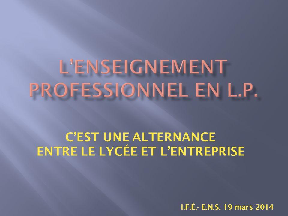 CEST UNE ALTERNANCE ENTRE LE LYCÉE ET LENTREPRISE I.F.É.- E.N.S. 19 mars 2014