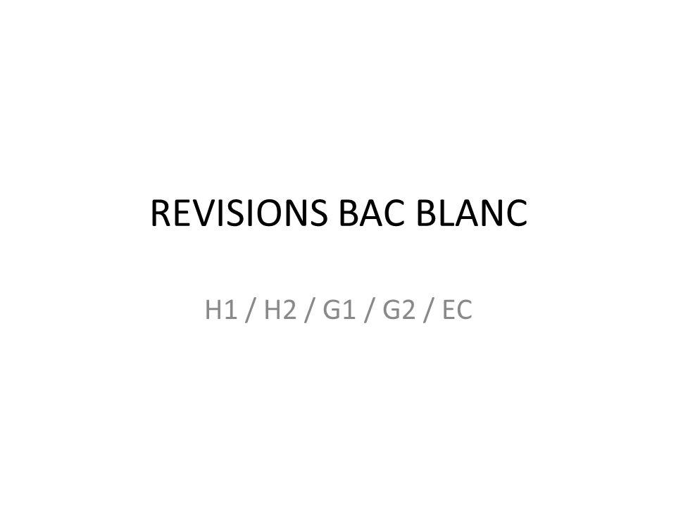 REVISIONS BAC BLANC H1 / H2 / G1 / G2 / EC Activité : trouver le chapitre concerné, un titre au document, réfléchir sur le document, prendre des notes
