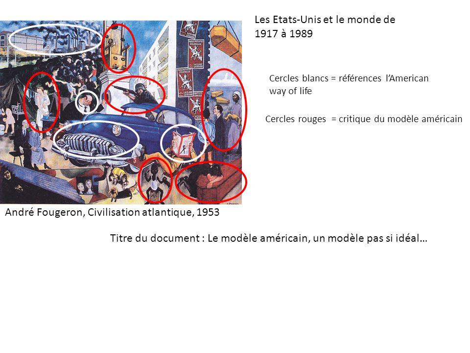 Les Etats-Unis et le monde de 1917 à 1989 Cercles blancs = références lAmerican way of life Cercles rouges = critique du modèle américain André Fouger