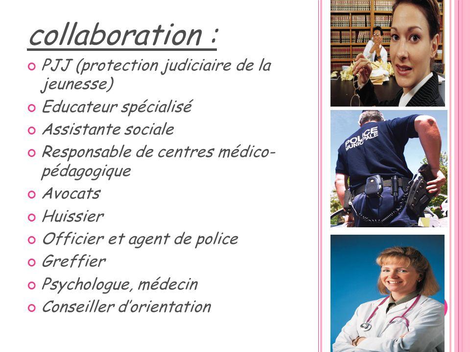 collaboration : PJJ (protection judiciaire de la jeunesse) Educateur spécialisé Assistante sociale Responsable de centres médico- pédagogique Avocats