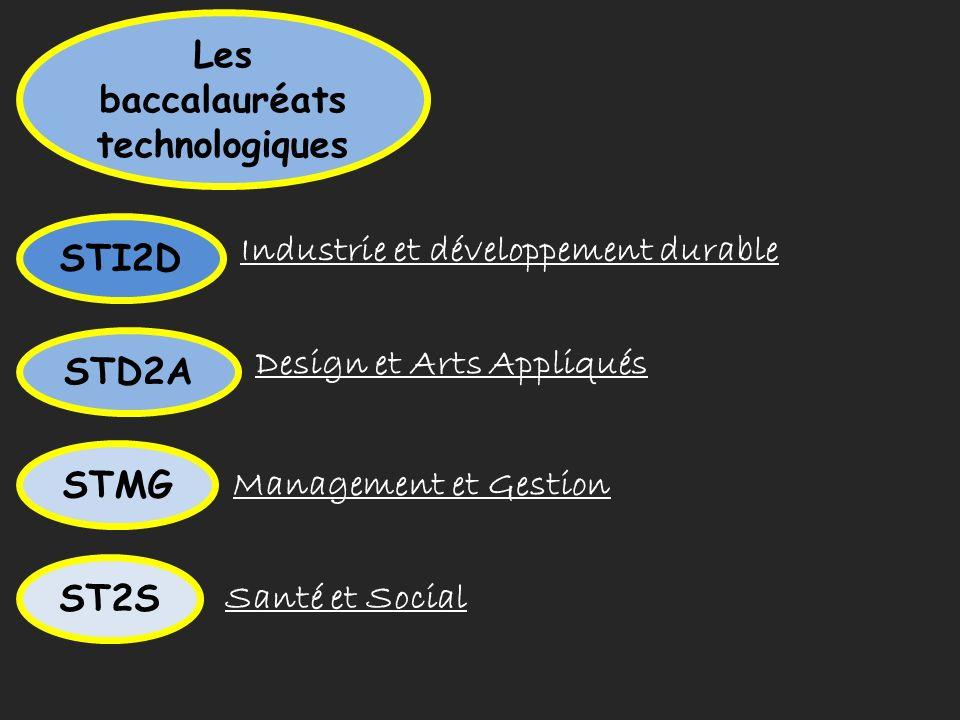 Les baccalauréats technologiques STI2D Industrie et développement durable STD2A Design et Arts Appliqués STMG Management et Gestion Santé et Social ST