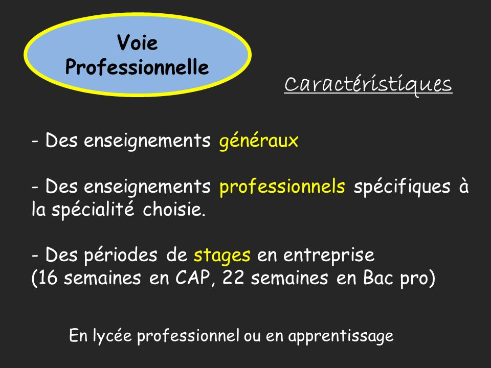 Voie Professionnelle Caractéristiques - Des enseignements généraux - Des enseignements professionnels spécifiques à la spécialité choisie. - Des pério