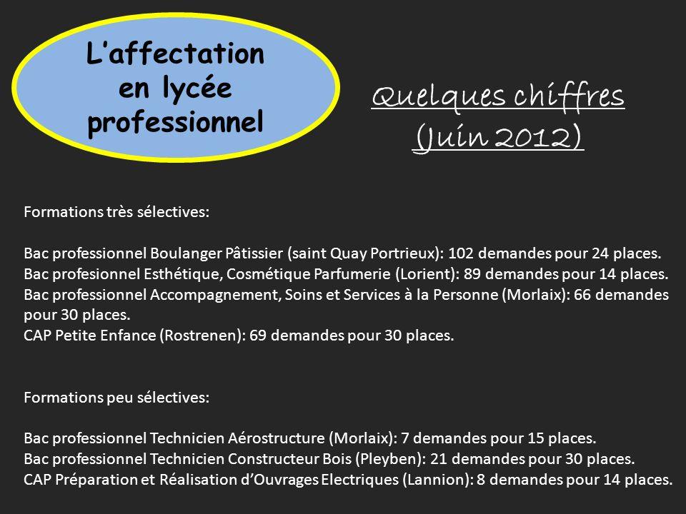 Quelques chiffres (Juin 2012) Laffectation en lycée professionnel Formations très sélectives: Bac professionnel Boulanger Pâtissier (saint Quay Portri