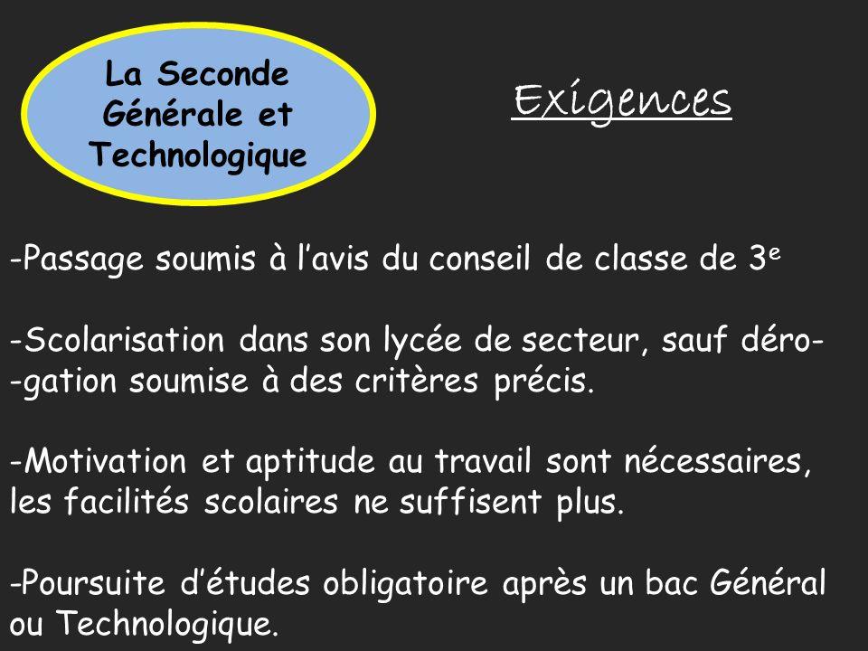 La Seconde Générale et Technologique Exigences -Passage soumis à lavis du conseil de classe de 3 e -Scolarisation dans son lycée de secteur, sauf déro