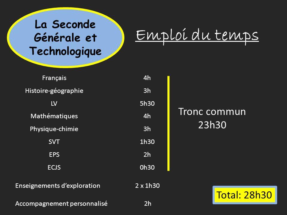 Emploi du temps La Seconde Générale et Technologique Français4h Histoire-géographie3h LV5h30 Mathématiques4h Physique-chimie3h SVT1h30 EPS2h ECJS0h30