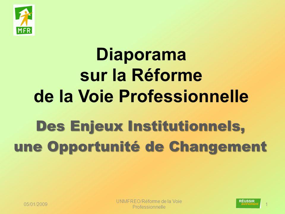 Diaporama sur la Réforme de la Voie Professionnelle Des Enjeux Institutionnels, une Opportunité de Changement 05/01/2009 UNMFREO/Réforme de la Voie Pr