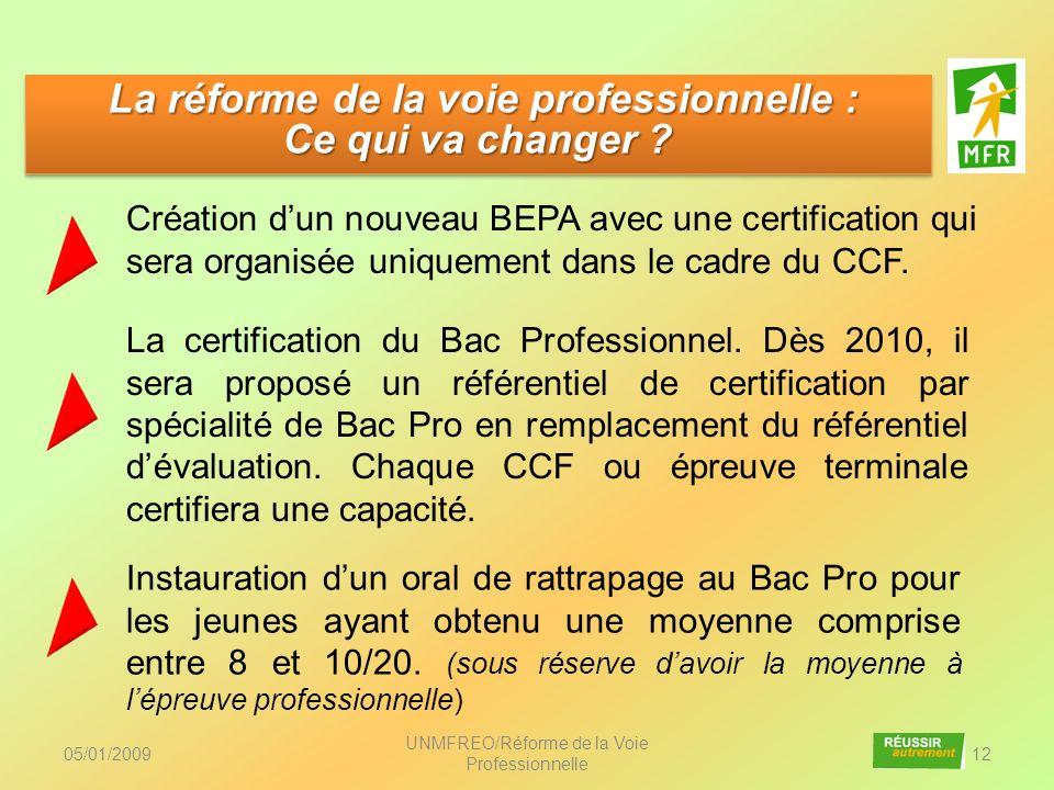 05/01/2009 UNMFREO/Réforme de la Voie Professionnelle 12 Création dun nouveau BEPA avec une certification qui sera organisée uniquement dans le cadre