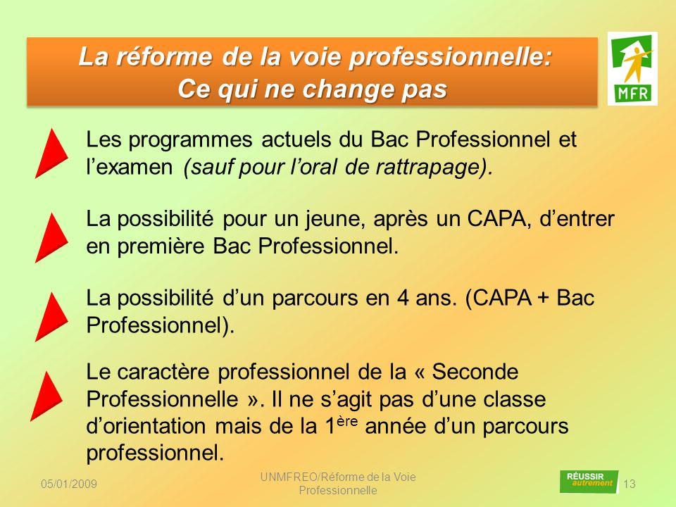 05/01/2009 UNMFREO/Réforme de la Voie Professionnelle 13 La réforme de la voie professionnelle: Ce qui ne change pas La réforme de la voie professionn