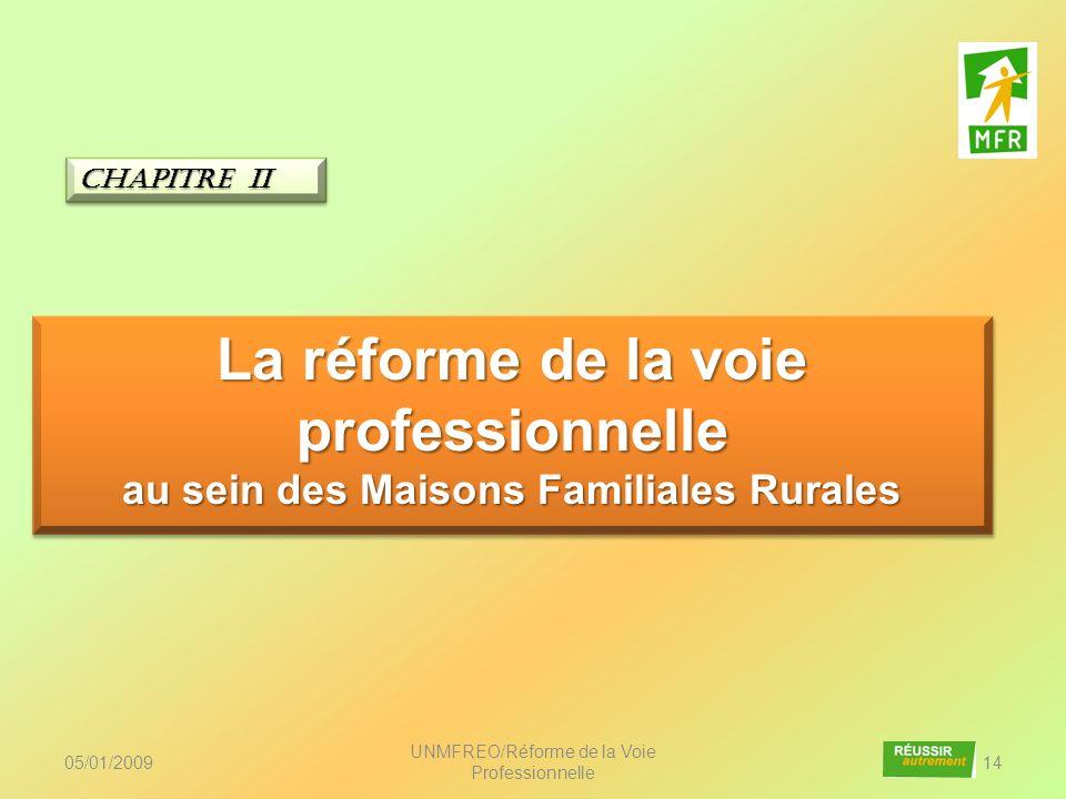05/01/2009 UNMFREO/Réforme de la Voie Professionnelle 14 La réforme de la voie professionnelle au sein des Maisons Familiales Rurales La réforme de la