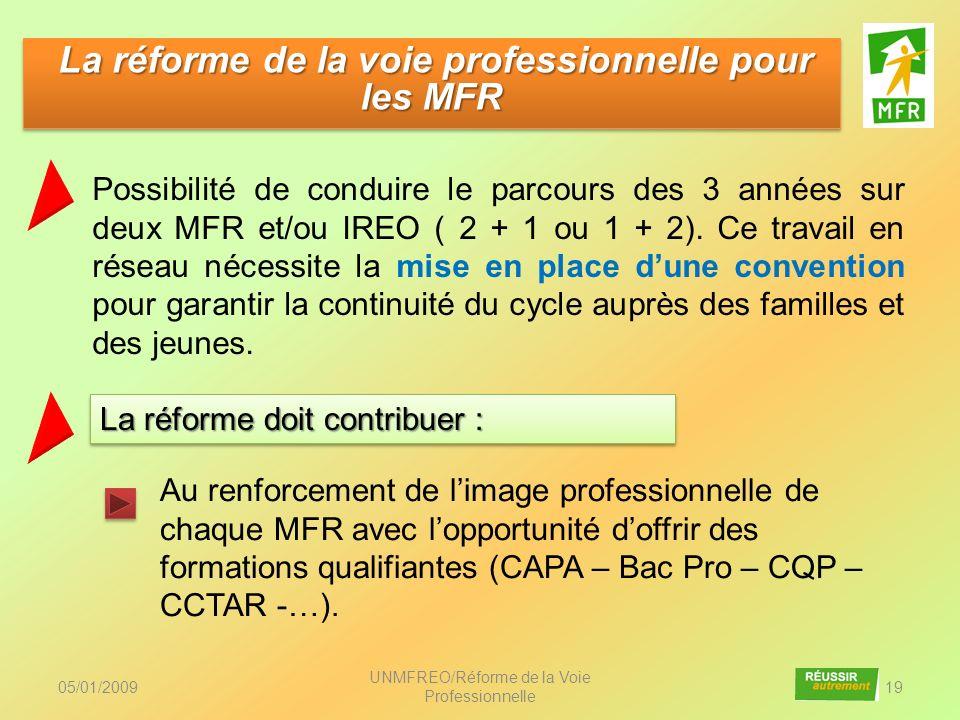 05/01/2009 UNMFREO/Réforme de la Voie Professionnelle 19 Au renforcement de limage professionnelle de chaque MFR avec lopportunité doffrir des formati