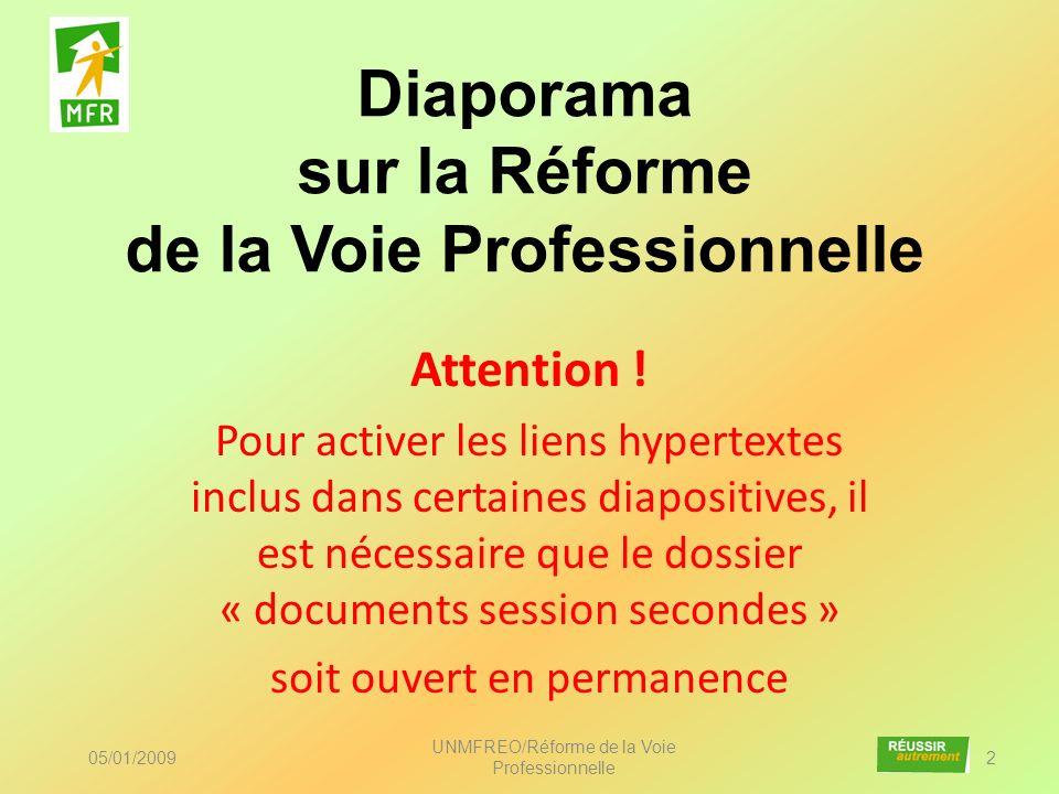 Diaporama sur la Réforme de la Voie Professionnelle 05/01/2009 UNMFREO/Réforme de la Voie Professionnelle 2 Attention ! Pour activer les liens hyperte
