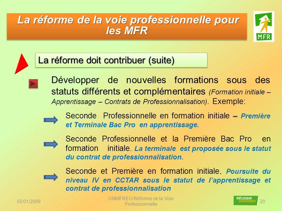 05/01/2009 UNMFREO/Réforme de la Voie Professionnelle 20 Développer de nouvelles formations sous des statuts différents et complémentaires (Formation