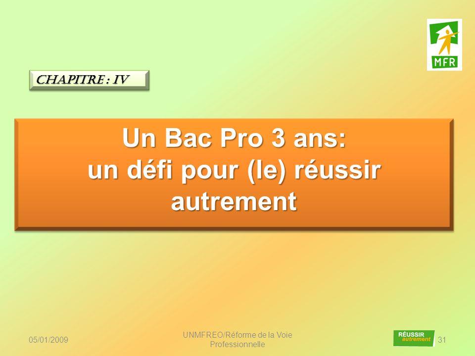05/01/2009 UNMFREO/Réforme de la Voie Professionnelle 31 Un Bac Pro 3 ans: un défi pour (le) réussir autrement Un Bac Pro 3 ans: un défi pour (le) réu