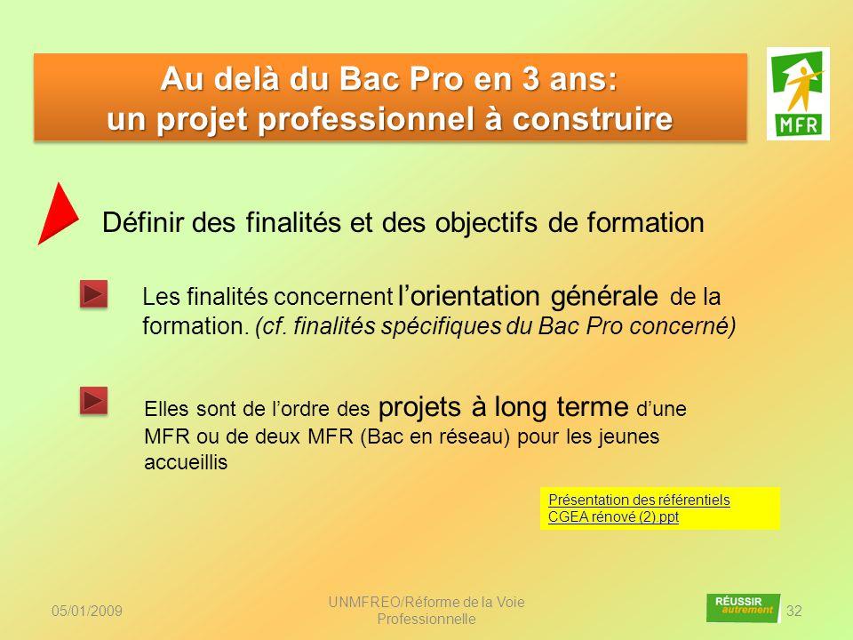 05/01/2009 UNMFREO/Réforme de la Voie Professionnelle 32 Au delà du Bac Pro en 3 ans: un projet professionnel à construire Au delà du Bac Pro en 3 ans