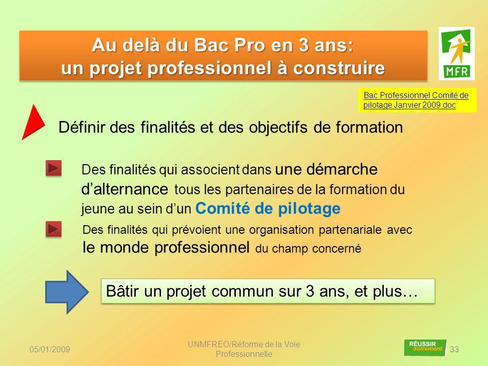05/01/2009 UNMFREO/Réforme de la Voie Professionnelle 33 Au delà du Bac Pro en 3 ans: un projet professionnel à construire Au delà du Bac Pro en 3 ans