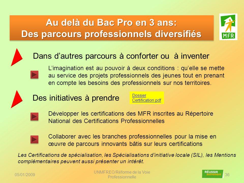 05/01/2009 UNMFREO/Réforme de la Voie Professionnelle 36 Au delà du Bac Pro en 3 ans: Des parcours professionnels diversifiés Au delà du Bac Pro en 3