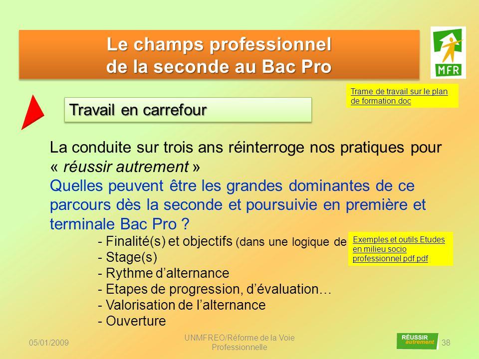 05/01/2009 UNMFREO/Réforme de la Voie Professionnelle 38 Le champs professionnel de la seconde au Bac Pro Le champs professionnel de la seconde au Bac