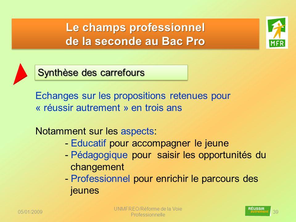 05/01/2009 UNMFREO/Réforme de la Voie Professionnelle 39 Synthèse des carrefours Le champs professionnel de la seconde au Bac Pro Le champs profession
