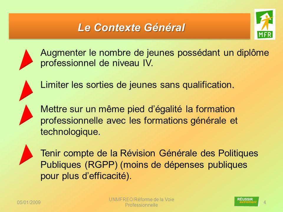 Le Contexte Général Le Contexte Général Augmenter le nombre de jeunes possédant un diplôme professionnel de niveau IV. 05/01/2009 UNMFREO/Réforme de l