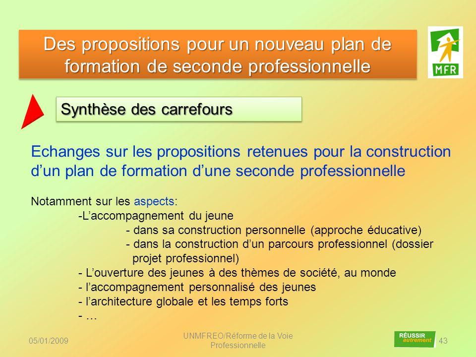 05/01/2009 UNMFREO/Réforme de la Voie Professionnelle 43 Synthèse des carrefours Des propositions pour un nouveau plan de formation de seconde profess