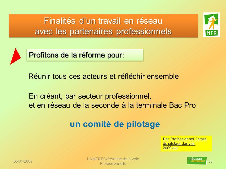 05/01/2009 UNMFREO/Réforme de la Voie Professionnelle 50 Finalités dun travail en réseau avec les partenaires professionnels Finalités dun travail en