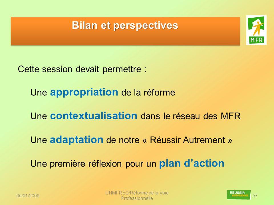 05/01/2009 UNMFREO/Réforme de la Voie Professionnelle 57 Bilan et perspectives Cette session devait permettre : Une appropriation de la réforme Une co