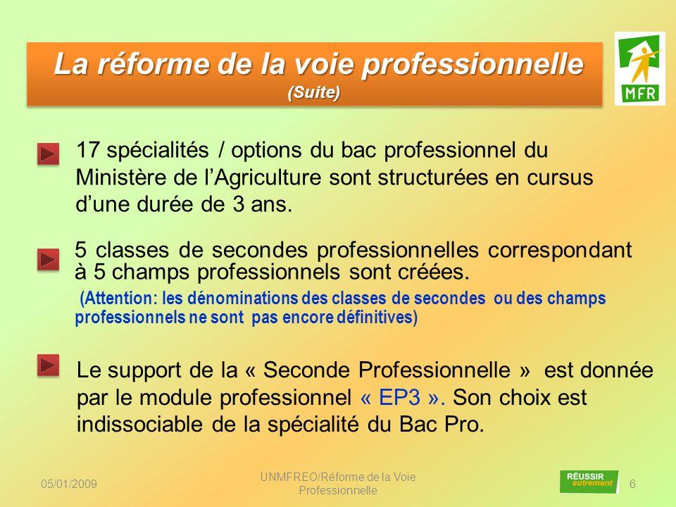 05/01/2009 UNMFREO/Réforme de la Voie Professionnelle 37 Le champ professionnel de la seconde au Bac Pro Le champ professionnel de la seconde au Bac Pro Les activités des jeunes en situation professionnelle sont la base de la formation.