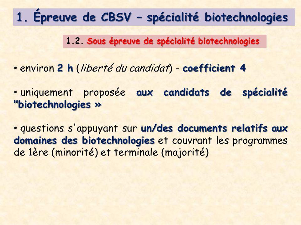Sous épreuve de spécialité biotechnologies 1.2.Sous épreuve de spécialité biotechnologies 1.