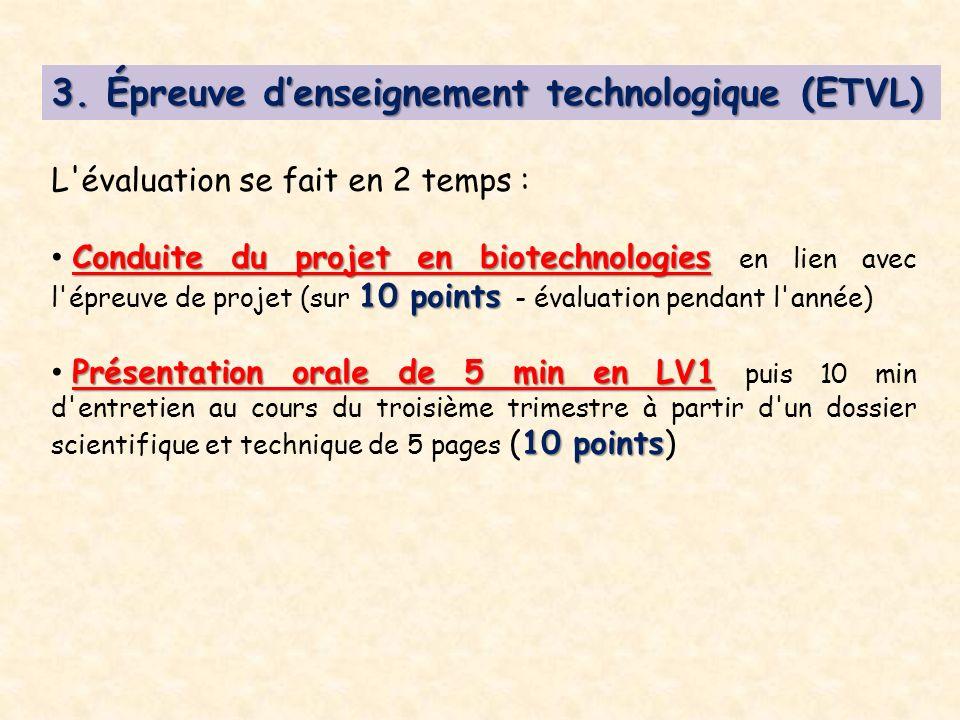 3. Épreuve denseignement technologique (ETVL) L'évaluation se fait en 2 temps : Conduite du projet en biotechnologies 10 points Conduite du projet en