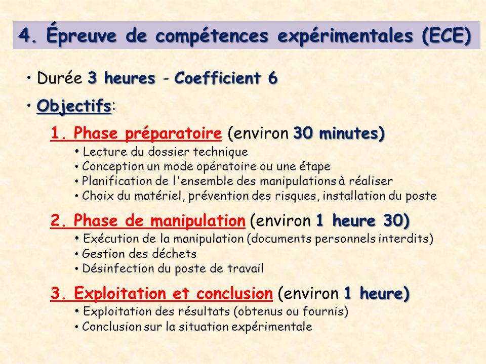4. Épreuve de compétences expérimentales (ECE) 3 heures Coefficient 6 Durée 3 heures - Coefficient 6 Objectifs Objectifs: 30 minutes) 1. Phase prépara