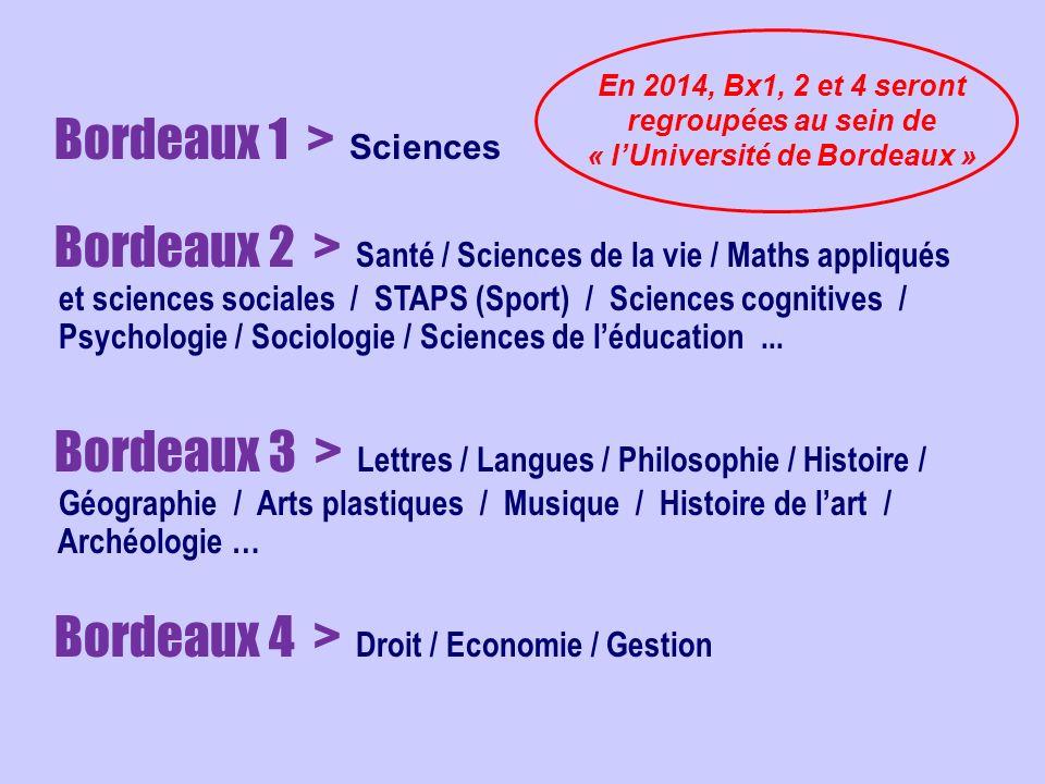 Bordeaux 1 > Sciences Bordeaux 2 > Santé / Sciences de la vie / Maths appliqués et sciences sociales / STAPS (Sport) / Sciences cognitives / Psycholog