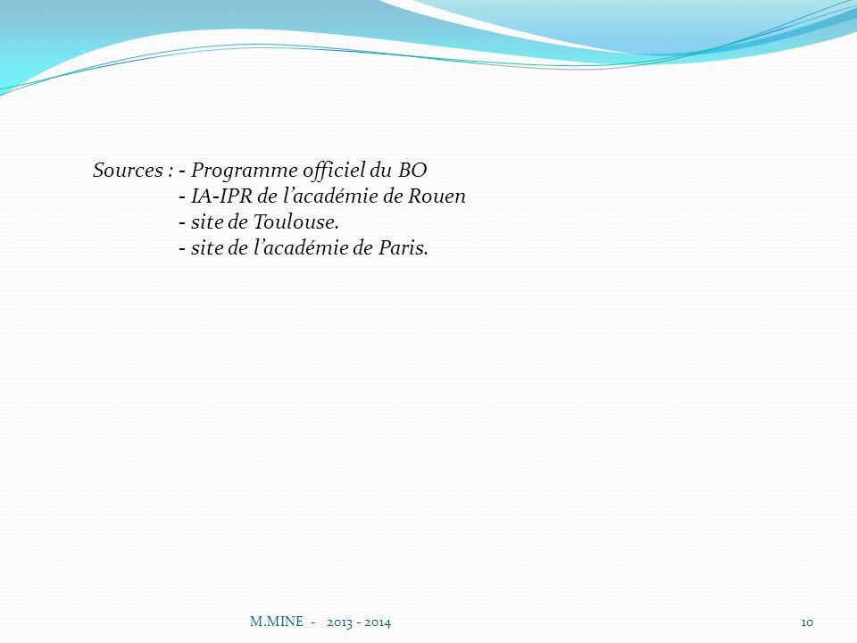 M.MINE - 2013 - 201410 Sources : - Programme officiel du BO - IA-IPR de lacadémie de Rouen - site de Toulouse.