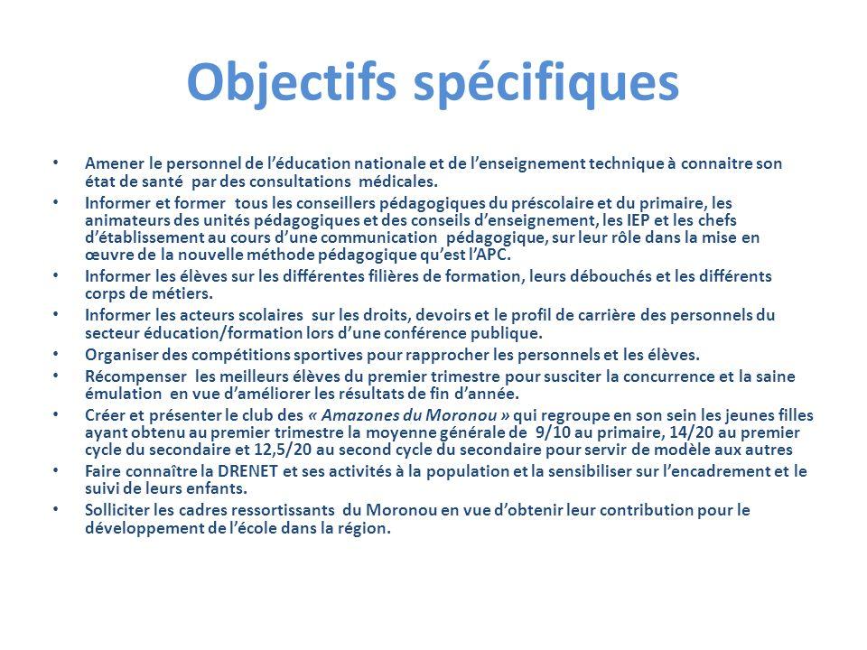 Objectif général : Contribuer à lamélioration durable des résultats scolaires dans la Région du Moronou.