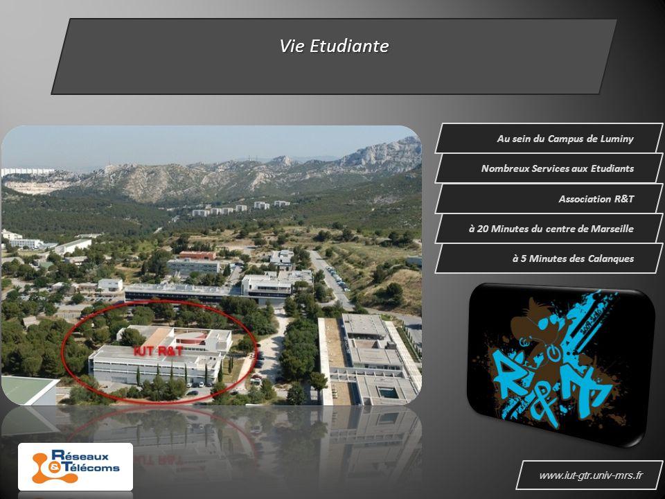 www.iut-gtr.univ-mrs.fr Vie Etudiante Au sein du Campus de Luminy Nombreux Services aux Etudiants à 5 Minutes des Calanques Association R&T à 20 Minutes du centre de Marseille