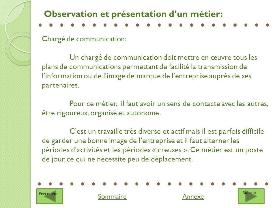 Suivant Sommaire Observation et présentation dun métier: Précédent Chargé de communication: Un chargé de communication doit mettre en œuvre tous les p