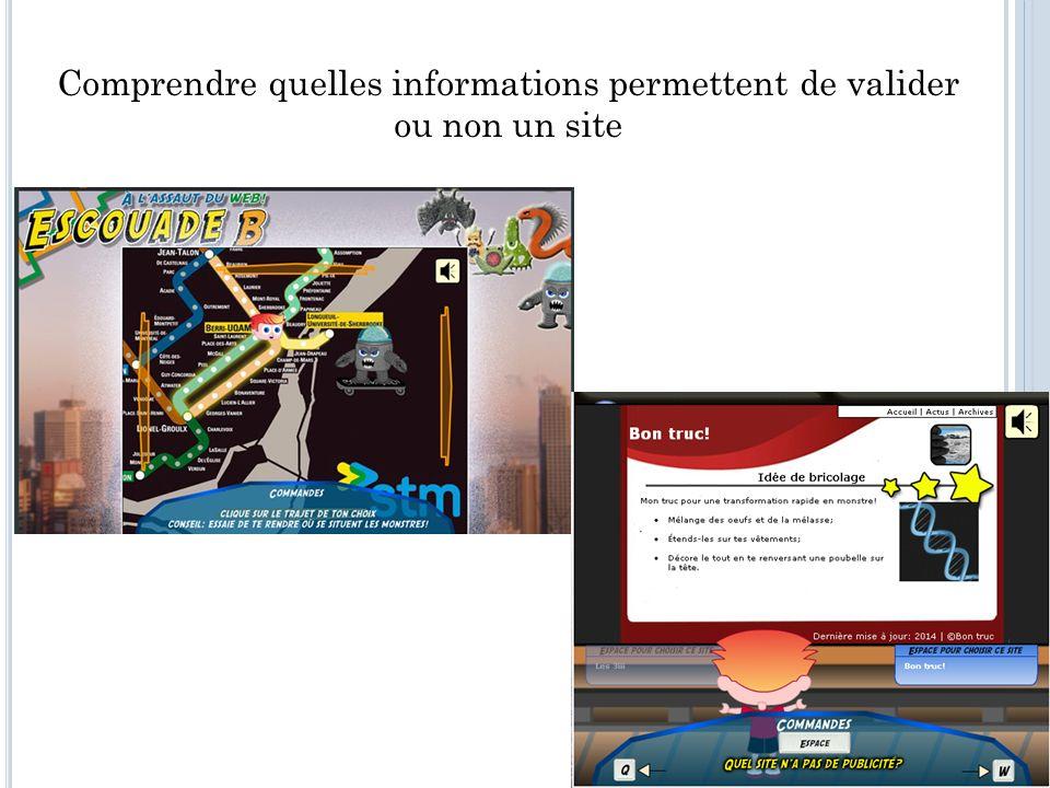 Comprendre quelles informations permettent de valider ou non un site