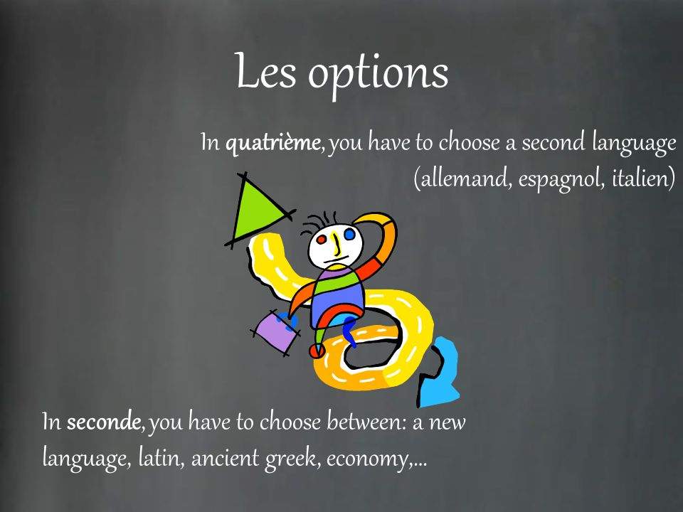Les options In quatrième, you have to choose a second language (allemand, espagnol, italien) In seconde, you have to choose between: a new language, latin, ancient greek, economy,…