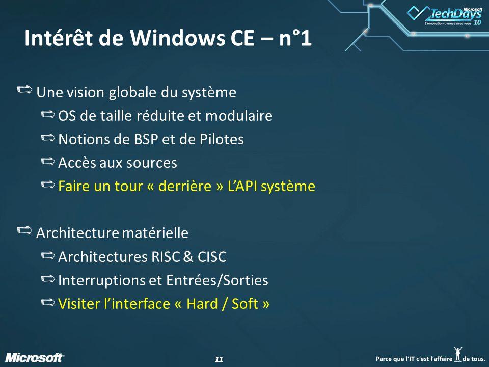 11 Intérêt de Windows CE – n°1 Une vision globale du système OS de taille réduite et modulaire Notions de BSP et de Pilotes Accès aux sources Faire un