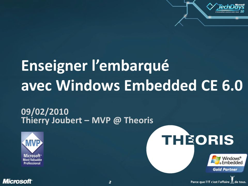 22 Enseigner lembarqué avec Windows Embedded CE 6.0 09/02/2010 Thierry Joubert – MVP @ Theoris