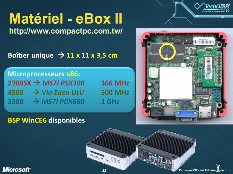 22 Boîtier unique 11 x 11 x 3,5 cm Microprocesseurs x86: 2300SX MSTI PSX300366 MHz 4300 Via Eden ULV500 MHz 3300 MSTI PDX6001 GHz BSP WinCE6 disponibl