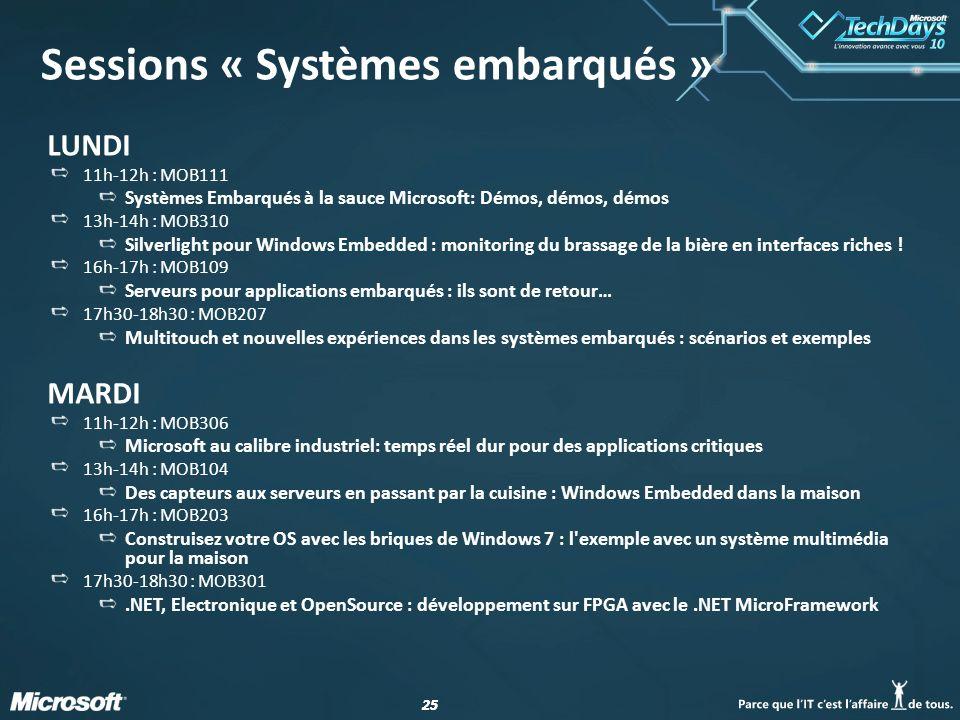 25 Sessions « Systèmes embarqués » LUNDI 11h-12h : MOB111 Systèmes Embarqués à la sauce Microsoft: Démos, démos, démos 13h-14h : MOB310 Silverlight po