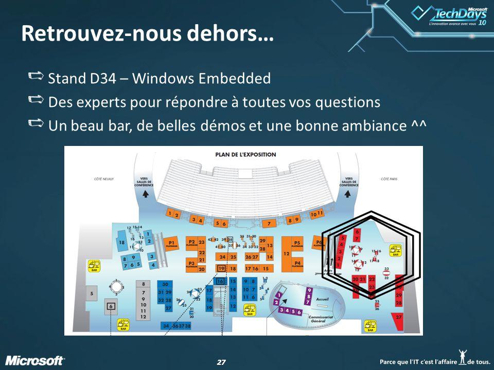 27 Retrouvez-nous dehors… Stand D34 – Windows Embedded Des experts pour répondre à toutes vos questions Un beau bar, de belles démos et une bonne ambi
