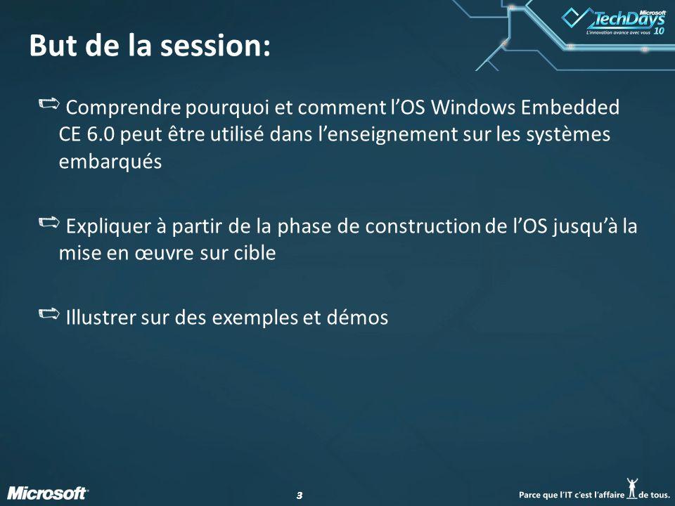 33 But de la session: Comprendre pourquoi et comment lOS Windows Embedded CE 6.0 peut être utilisé dans lenseignement sur les systèmes embarqués Expli
