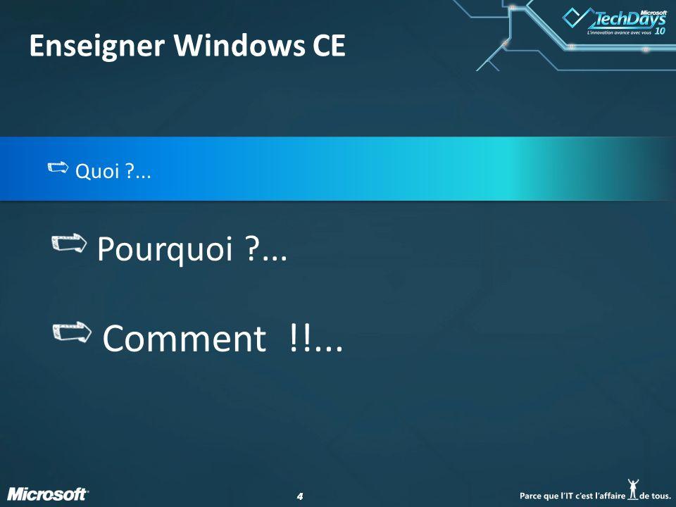 44 Quoi ?... Pourquoi ?... Comment !!... Enseigner Windows CE