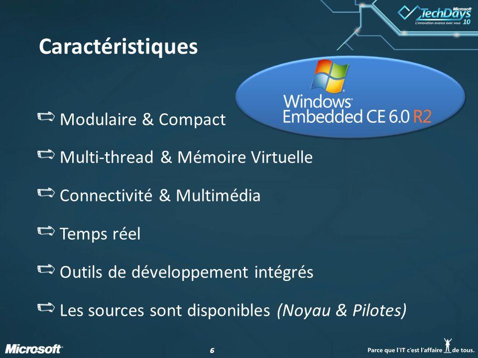 66 Modulaire & Compact Multi-thread & Mémoire Virtuelle Connectivité & Multimédia Temps réel Outils de développement intégrés Les sources sont disponi