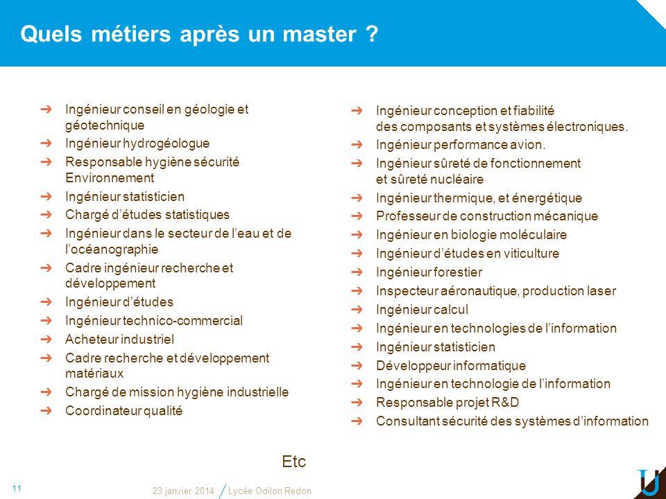 Quels métiers après un master ? 23 janvier 2014Lycée Odilon Redon 11 Ingénieur conception et fiabilité des composants et systèmes électroniques. Ingén