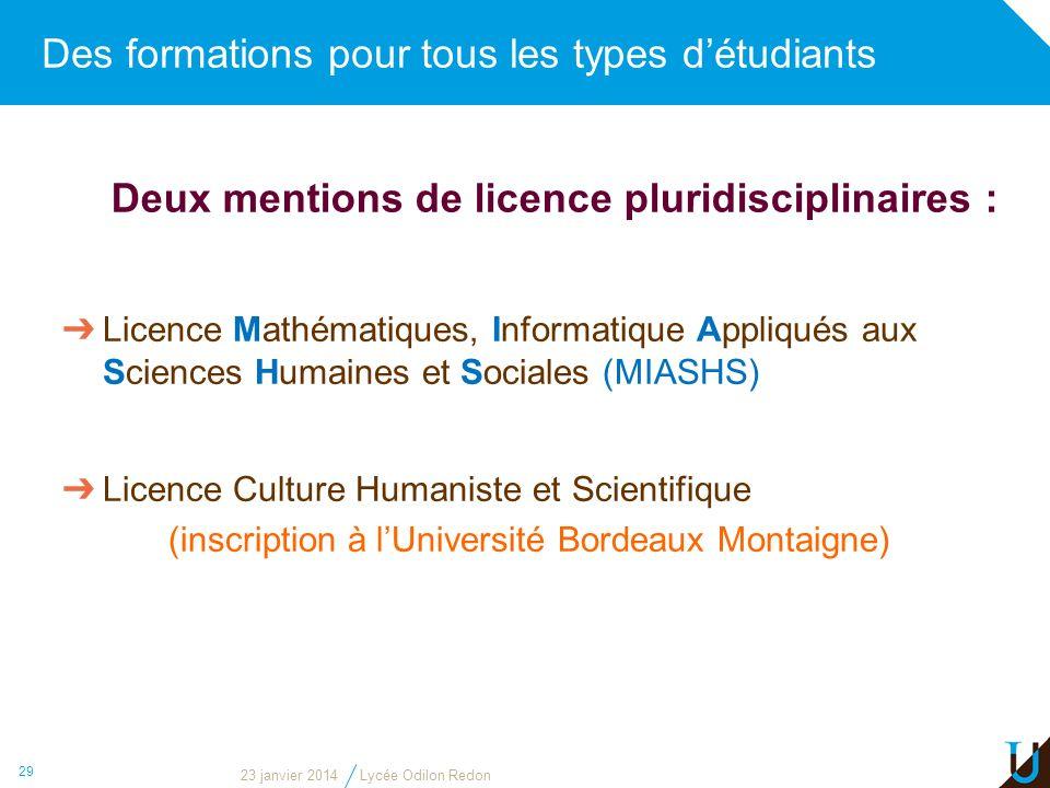 Des formations pour tous les types détudiants 29 Deux mentions de licence pluridisciplinaires : Licence Mathématiques, Informatique Appliqués aux Scie