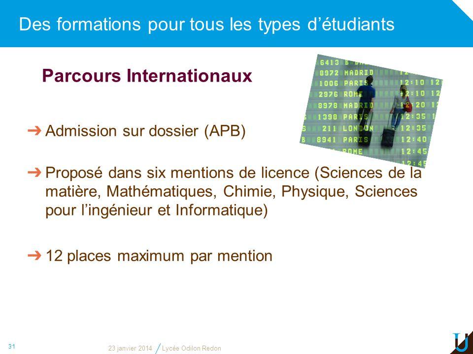 Des formations pour tous les types détudiants 31 Parcours Internationaux Admission sur dossier (APB) Proposé dans six mentions de licence (Sciences de