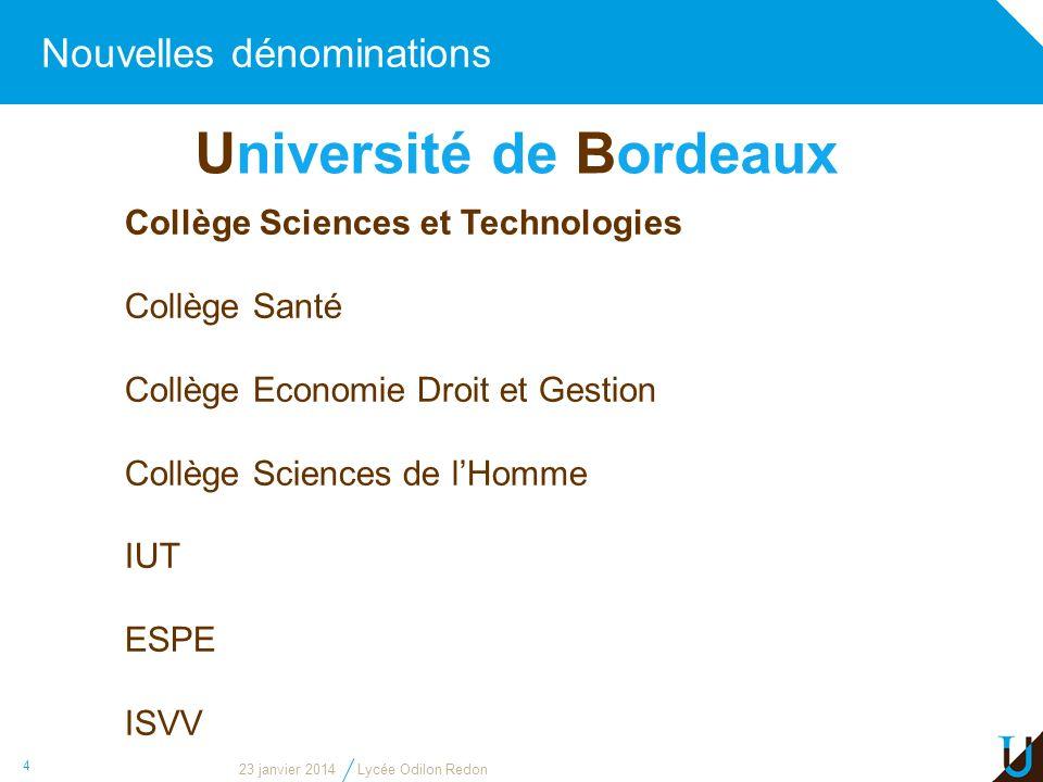 Nouvelles dénominations 4 Collège Sciences et Technologies Collège Santé Collège Economie Droit et Gestion Collège Sciences de lHomme IUT ESPE ISVV Un
